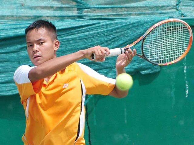 CLTA-trainee-Calvin-Golmei-hits-a-forehand-during-a-pre-quaterfinal-match-in-the-AITA-Championship-series-tournament-at-CLTA-complex-in-Chandigarh-Ravi-Kumar-HT
