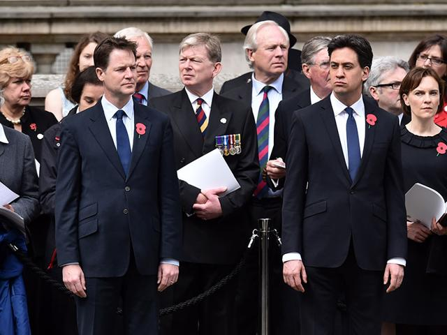 Leader-of-the-Liberal-Democrats-Party-Nick-Clegg-L-and-Leader-of-the-opposition-Labour-Party-Ed-Miliband-attend-a-service-to-commemorate-ANZAC-day-and-the-centenary-of-the-Battle-of-Gallipoli-at-the-Cenotaph-war-memorial-in-central-London-A-century-ago-Allied-troops-waded-ashore-on-the-Gallipoli-peninsula-at-the-start-of-an-ill-fated-land-campaign-to-wrest-the-Dardanelles-Strait-from-the-Ottoman-Empire-The-disastrous-World-War-I-battle-began-on-April-25-1915-and-pitted-troops-from-countries-including-Australia-Britain-France-and-New-Zealand-against-the-Ottoman-forces-backed-by-Germany-AFP-Photo
