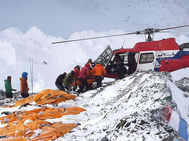 An-injured-person-is-loaded-onto-a-rescue-helicopter-at-Everest-Base-Camp-in-Nepal-AFP-Photo