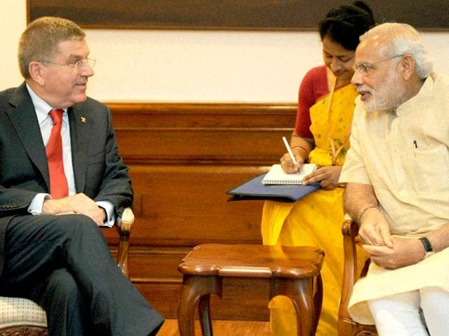 Prime-Minister-Narendra-Modi-with-chief-of-the-International-Olympic-Committee-Thomas-Bach-during-a-meeting-in-New-Delhi-PTI-Photo