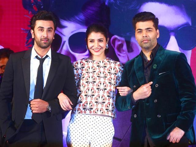 Ranbir-Anushka-and-Karan-at-the-trailer-launch-of-Bombay-Velvet