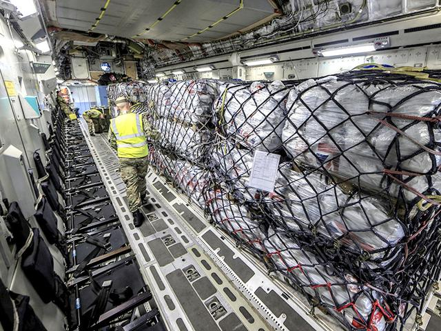 In-this-handout-photograph-provided-to-Reuters-a-Royal-Air-Force-C-17-aircraft-is-loaded-with-humanitarian-aid-supplies-for-victims-of-the-Nepal-earthquake-as-it-prepares-to-leave-RAF-Brize-Norton-in-Britain