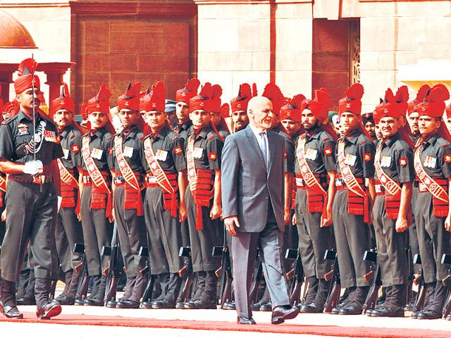 Afghanistan-President-Mohammad-Ashraf-Ghani-inspects-the-guard-of-honour-at-Rashtrapati-Bhawan-on-Tuesday-Arvind-Yadav-HT-Photo