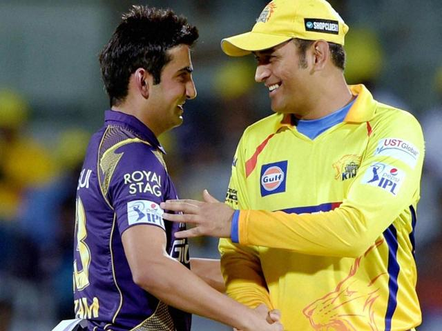 Chennai-Super-Kings-CSK-skipper-MS-Dhoni-and-Kolkata-Knight-Riders-KKR-captain-Gautam-Gambhir-during-the-IPL-2015-match-between-the-two-sides-in-Chennai-on-Tuesday-PTI-Photo