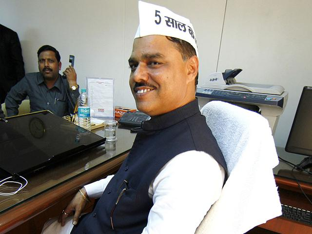 State-law-minister-Jitender-Singh-Tomar-at-his-office-in-Delhi-secretariat-Photo-by-Arvind-Yadav-HT-File-Photo