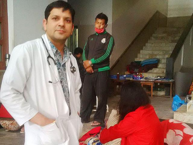 Doctor-Ram-Prasad-Sapkota-outside-Prasuti-Griha-hospital-in-Kathmandu-HT-Photo-