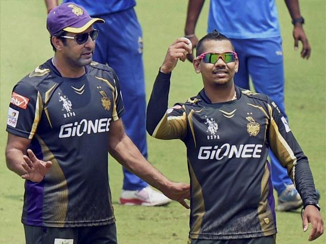 KKR-player-Sunil-Narine-and-bowling-coach-Wasim-Akram-during-a-practice-session-at-Eden-Garden-in-Kolkata-PTI-Photo