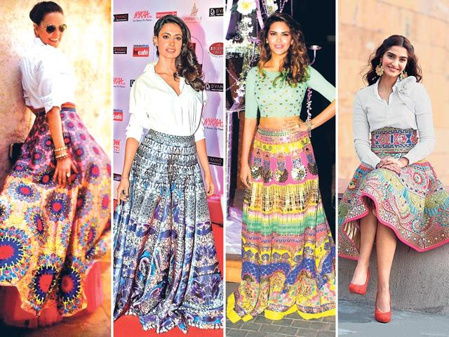 Neha-Dhupia-ups-the-style-quotient-with-stacked-bangles-and-sunnies-Sarah-Jane-Dias-adds-drama-with-an-earcuff-and-side-swept-hair-Actors-Sonam-Kapoor-and-Esha-Gupta-rocks-heavily-embellished-kitschy-pop-skirts-by-designer-Manish-Arora-at-different-dos