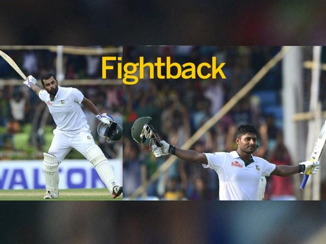 Openers-Tamim-Iqbal-L-and-Imrul-Kayes-hit-unbeaten-centuries-to-lead-the-fightback-Bangladesh-trailing-by-296-runs-on-the-first-innings-closed-the-day-strongly-at-273-for-no-loss-in-their-second-knock-AFP-Photos