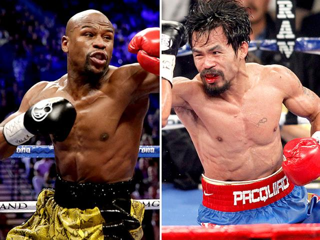 At-left-Floyd-Mayweather-Jr-exchanges-punches-with-Robert-Guerrero-not-shown-in-a-WBC-welterweight-title-fight-in-Las-Vegas-At-right-Manny-Pacquiao-exchanges-punches-with-Juan-Manuel-Marquez-not-shown-during-a-WBO-welterweight-title-fight-in-Las-Vegas-AP-Photo
