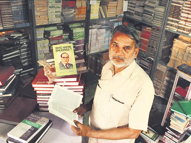 Sultan-Singh-Gautam-at-his-bookshop-that-exclusively-sells-Dalit-literature-Manoj-Sharma-HT-Photo