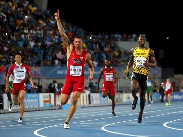 Ryan-Bailey-of-the-US-celebrates-as-he-crosses-the-finish-line-ahead-of-Jamaica-s-Usain-Bolt-at-the-IAAF-World-Relays-Championships-in-Nassau-Bahamas-Reuters-Photo