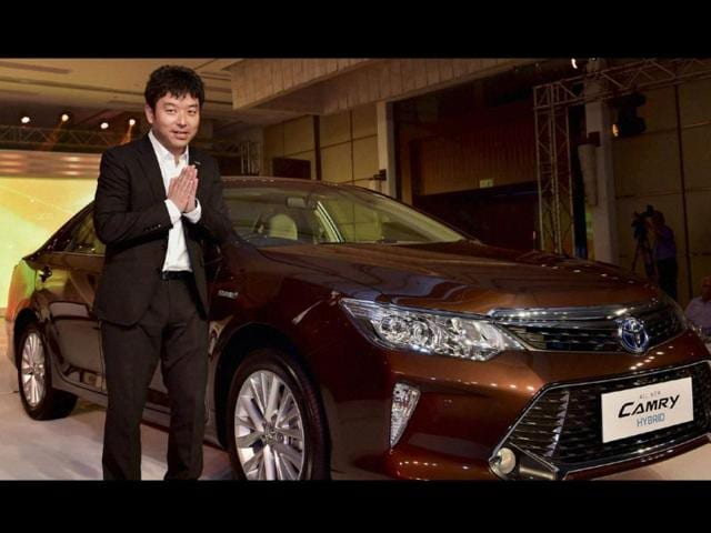 Naomi-Ishii-MD-Toyota-Kirloskar-Motor-gestures-at-the-launch-of-the-new-Camry-Hybrid-in-New-Delhi-on-Thursday-Photo-PTI-Photo