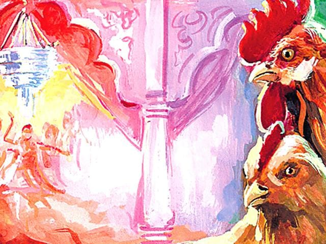 Alicja-Dobrucka-has-used-the-rooster-as-imagery-for-her-show