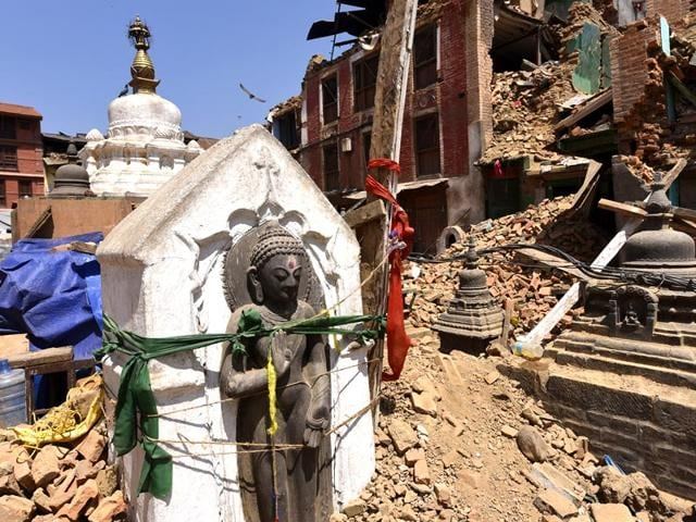 An idol of Lord Buddha in Swayambhunath complex in Kathmandu. The devastating earthquake has not spared the country