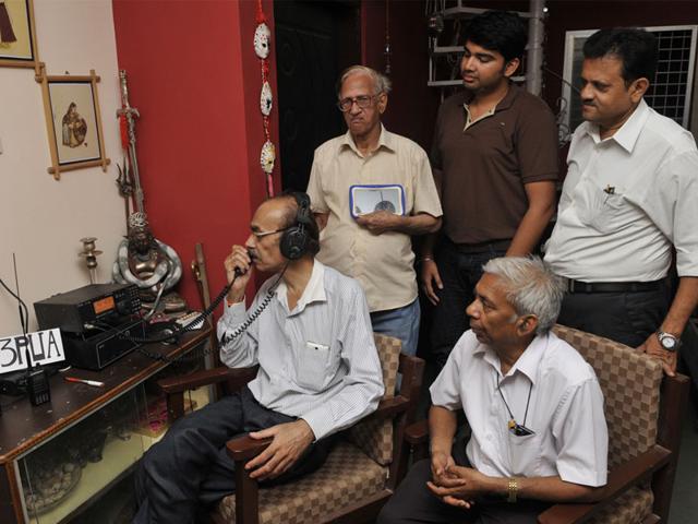 A-Ham-radio-operator-talks-to-people-in-Nepal-Praveen-Bajpai-HT-photo