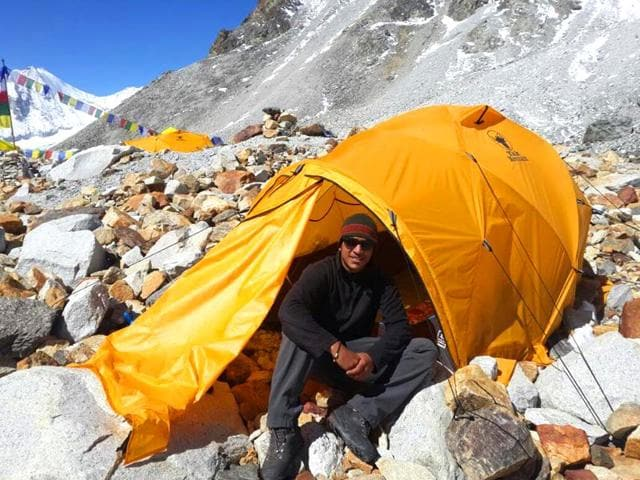Arjun-Vajpai-manged-to-climb-down-to-Hillary-Base-Camp-15-749-feet-of-Mt-Makalu-at-4-pm-on-April-30-The-route-was-broken-due-to-landslides-and-they-had-to-re-route-the-climb-down-Vajpai-s-Facebook-Page