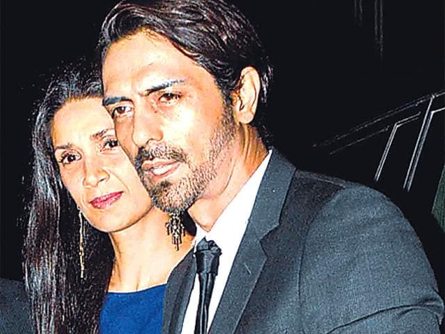 Arjun-Rampal-and-Mehr-Jessia-made-a-public-appearance-together-after-a-long-time-They-attended-Abhishek-Kapoor-s-wedding-reception-HT-photo