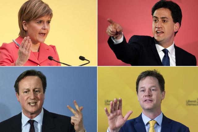 A-combination-picture-shows-top-L-R-Scottish-National-Party-leader-Nicola-Sturgeon-opposition-Labour-leader-Ed-Miliband-bottom-L-R-British-Prime-Minister-and-leader-of-the-Conservatives-David-Cameron-and-Deputy-Prime-Minister-and-leader-of-the-Liberal-Democrats-Nick-Clegg-campaigning-in-the-run-up-to-the-UK-elections-AFP-Photo