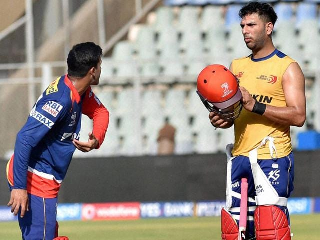 Delhi-Daredevils-players-Yuvraj-Singh-and-Mayank-Agarwal-during-a-practice-session-in-Mumbai-PTI-Photo
