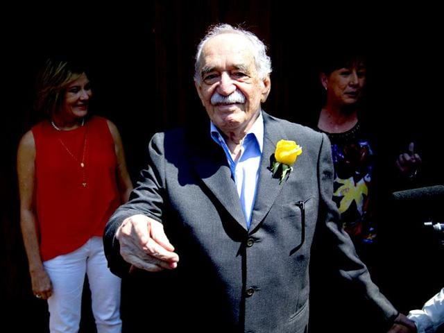 In-this-March-6-2014-file-photo-Gabriel-Garcia-Marquez-greets-fans-and-reporters-outside-his-home-on-his-birthday-in-Mexico-City-Fans-of-the-Nobel-Prize-winning-novelist-will-commemorate-the-first-anniversary-of-his-death-on-Friday-April-17-2015-AP