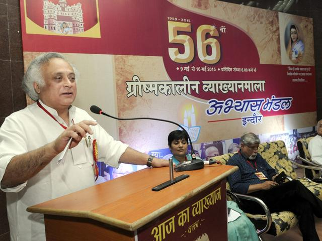 Congress-leader-Jairam-Ramesh-addresses-the-56th-summer-lecture-series-organised-by-Abhyas-Mandal-in-Indore-on-Saturday-Shankar-Mourya-HT-photo