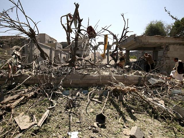 Yemen-s-former-President-s-resident-in-a-rubble-after-airstrikes-Reuters-photo