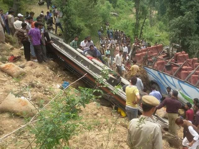 24-people-were-killed-when-a--bus-rolled-down-into-a-deep-gorge-in-Maroti-near--Udhampur-HT-Photo