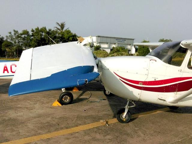 Two-Cessna-training-jets-used-by-Mumbai-flying-school-were-destroyed-in-freak-accident-at-Baramati-airstrip-HT-photo