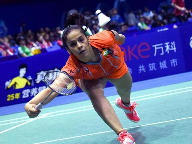 India-s-Saina-Nehwal-hits-a-return-against-South-Korea-s-Bae-Yeon-ju-during-their-women-s-singles-match-at-the-Sudirman-Cup-world-badminton-championships-in-Dongguan-AFP-PHOTO