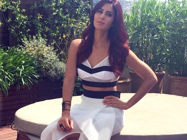 Katrina-Kaif-sported-a-monochrome-dress-on-the-first-day-of-Cannes-as-she-met-the-press-The-actor-made--her-debut-at-the-68th-Cannes-festival--Courtesy-Twitter
