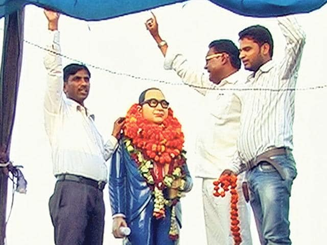 The-statue-of-Dr-BR-Ambedkar-that-was-erected-by-residents-in-Khudanpuri-on-May-9-HT-Photo