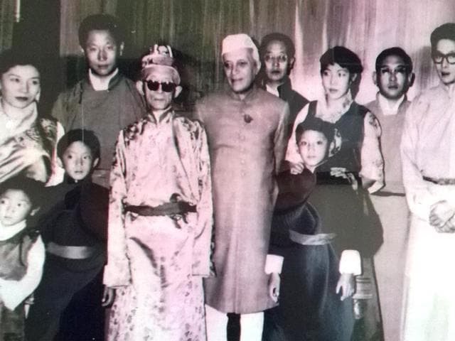 Former-prime-minister-Jawaharlal-Nehru-with-members-of-Chogyal-family-Pramod-Giri-HT-Photo