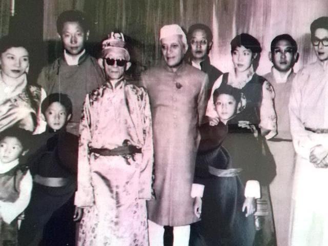 Former-prime-minister-Jawaharlal-Nehru-with-members-of-Chogyal-family-Pramod-Giri-HT-Photo
