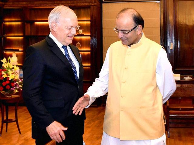 Finance-minister-Arun-Jaitley-with-Swiss-economic-affairs-minister-Johann-N-Schneider-Ammann-in-New-Delhi-PTI-Photo