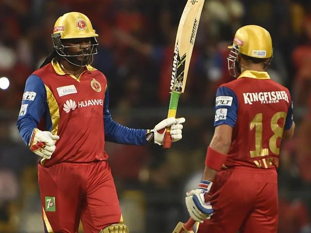 A-smashing-start-from-Chris-Gayle-and-a-blazing-finish-from-Virat-Kohli-took-Royal-Challengers-Bangalore-to-a-stunning-win-over-Sunrisers-Hyderabad-on-May-15-Agencies