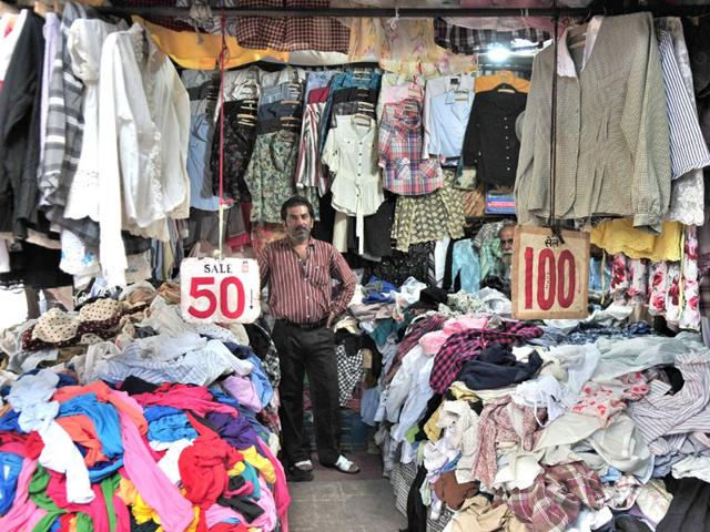 A-shopkeeper-displays-second-hand-clothes-at-the-Sector-19-market-in-Chandigarh-on-Friday-Ravi-Kumar-HT
