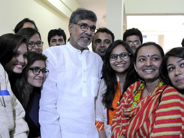 Nobel-laureate-Kailash-Satyarthi-addressed-and-interacted-with-the-students-at-the-Devi-Ahilya-Vishwavidyalaya-in-Indore-on-Saturday-Shankar-Mourya-HT-photo