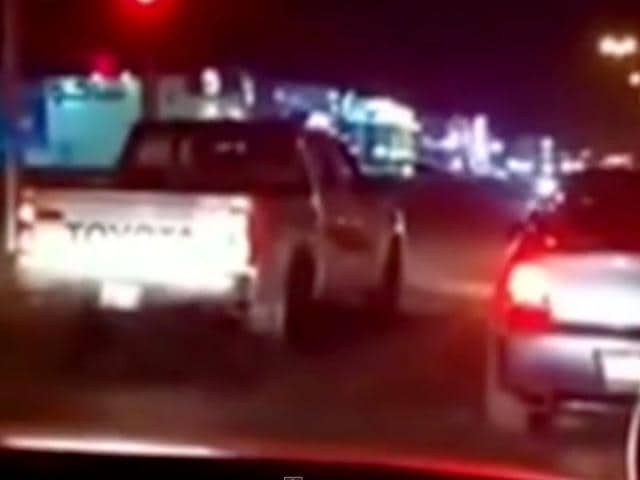 A-screengrab-taken-from-a-YouTube-video-shows-the-pickup-truck-which-the-disgruntled-woman-purposefully-drove-through-red-lights-in-Saudi-Arabia-raking-up-hefty-fines