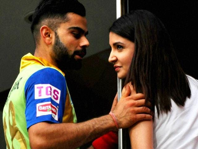 Royal-Challengers-Bangalore-skipper-Virat-Kohli-with-Anushka-Sharma-and-Yuvraj-Singh-at-the-M-Chinnaswamy-Stadium-in-Bengaluru-on-May-17-during-the-rain-interruption-in-the-match-against-Delhi-Daredevils-HT-Photo