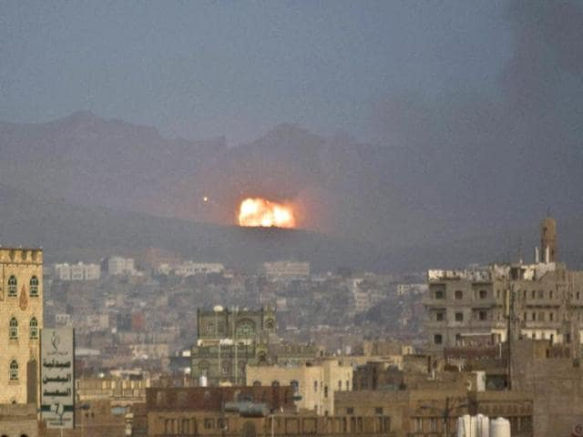 Flames-and-smoke-rise-after-a-Saudi-led-airstrike-hit-a-site-believed-to-be-one-of-the-largest-weapons-depot-on-the-outskirts-of-Yemen-s-capital-Sanaa-PTI-Photo