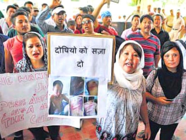 Supporters-of-the-Darjeeling-youth-protested-and-submitted-a-memorandum-to-Deepak-Saharan-DCP-east-on-Wednesday-Gurgaon-HT-Photo