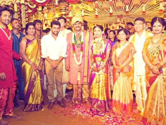 Manchu-Manoj-and-Pranathi-Reddy-with-Tamil-superstar-Suriya-and-other-guests-onlynikil-Twitter