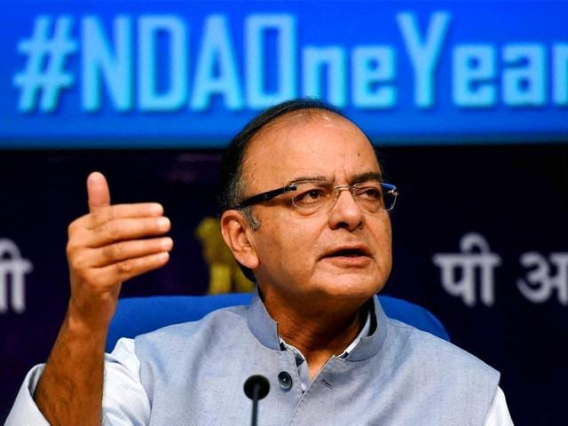 Union-minister-for-finance-corporate-affairs-and-information-amp-broadcasting-Arun-Jaitley-addresses-the-media-on-one-year-of-Prime-Minister-Narendra-Modi-s-government-in-New-Delhi-PTI-Photo