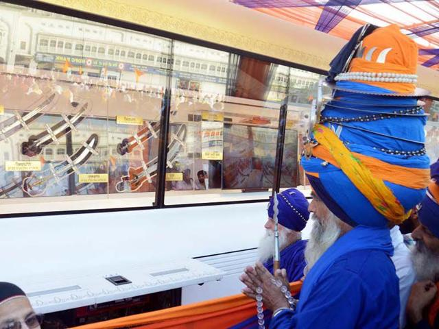 The-relics-of-the-Sikh-gurus-including-their-clothes-and-weapons-are-being-taken-around-Punjab-Relics-of-sixth-guru-Hargobind-Singh-ninth-guru-Tegh-Bahadur-and-tenth-and-final-guru-Gobind-Singh-are-being-carried-on-the-tour