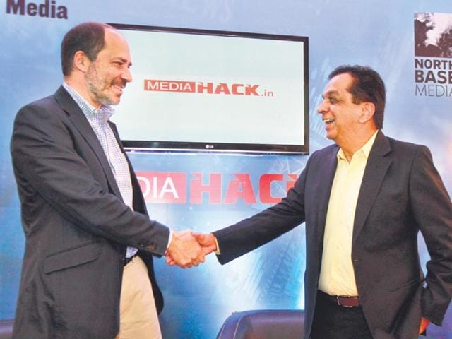 North-Base-Media-co-founder-and-managing-partner-Marcus-Brauchli-left-with-HT-Media-Ltd-CEO-Rajiv-Verma-at-the-launch-of-Mediahack-in-in-New-Delhi-on-Friday-Sanjeev-Verma-HT