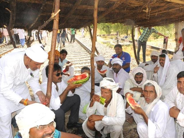 Day-2-of-Gujjar-protests-in-Rajasthan-HT-Photo
