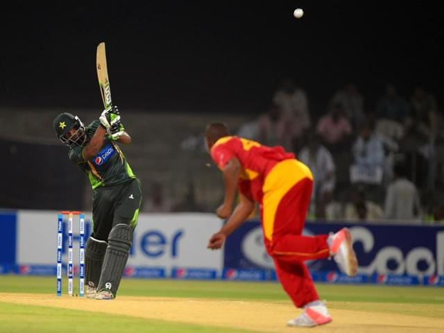 Pakistan-batsman-Mukhtar-Ahmed-hits-a-shot-against-Zimbabwe-during-the-first-T20I-match-at-the-Gaddafi-Cricket-Stadium-in-Lahore-on-May-22-2015-AFP-Photo
