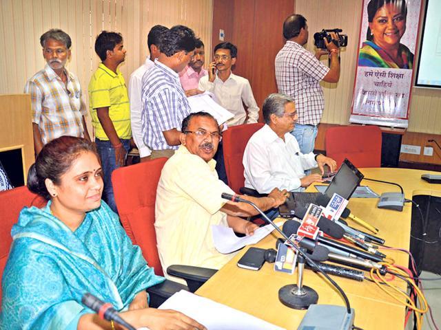 Education-minister-Vasudev-Devnani-declares-the-board-results-in-Ajmer-on-Friday-Deepak-Sharma-HT-Photo