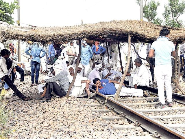 Gujjars-protest-on-the-railway-track-in-Bharatpur-on-Friday-Himanshu-Vyas-HT-Photo